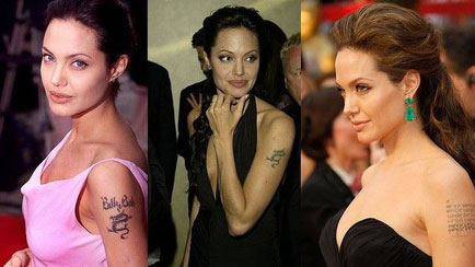 Angelina Jolie with Tattoo